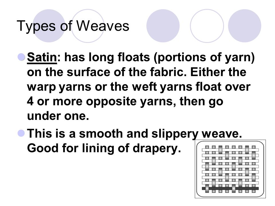 Types of Weaves Satin Satin: has long floats (portions of yarn) on the surface of the fabric. Either the warp yarns or the weft yarns float over 4 or