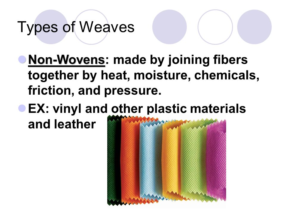 Types of Weaves Non-Wovens Non-Wovens: made by joining fibers together by heat, moisture, chemicals, friction, and pressure. EX: vinyl and other plast
