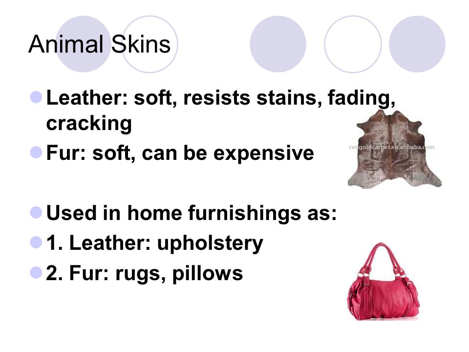 Animal Skins Leather: soft, resists stains, fading, cracking Fur: soft, can be expensive Used in home furnishings as: 1. Leather: upholstery 2. Fur: r