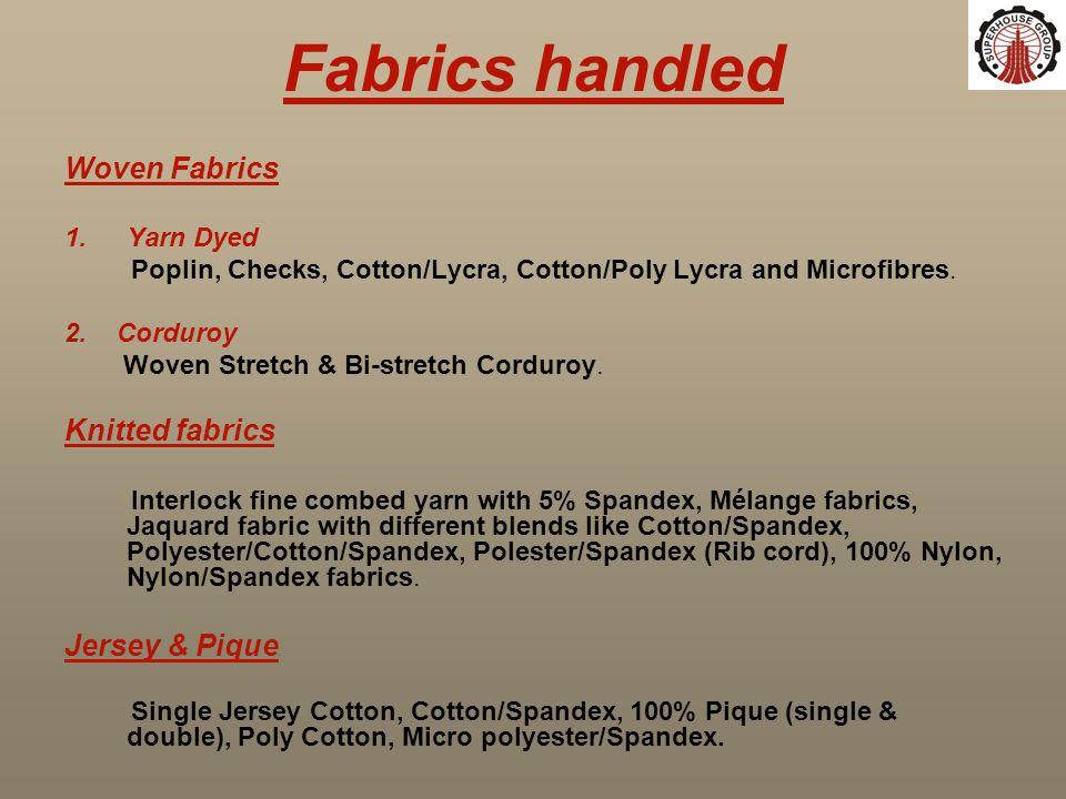 Fabrics handled Woven Fabrics 1.Yarn Dyed Poplin, Checks, Cotton/Lycra, Cotton/Poly Lycra and Microfibres. 2. Corduroy Woven Stretch & Bi-stretch Cord