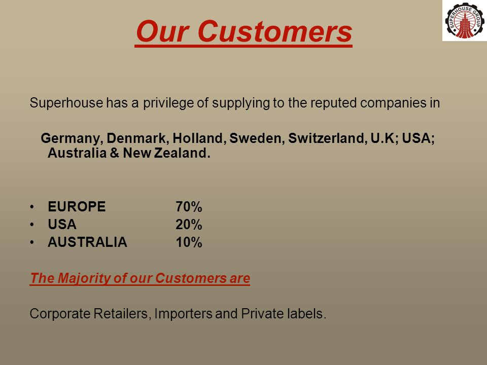 Our Customers Superhouse has a privilege of supplying to the reputed companies in Germany, Denmark, Holland, Sweden, Switzerland, U.K; USA; Australia & New Zealand.