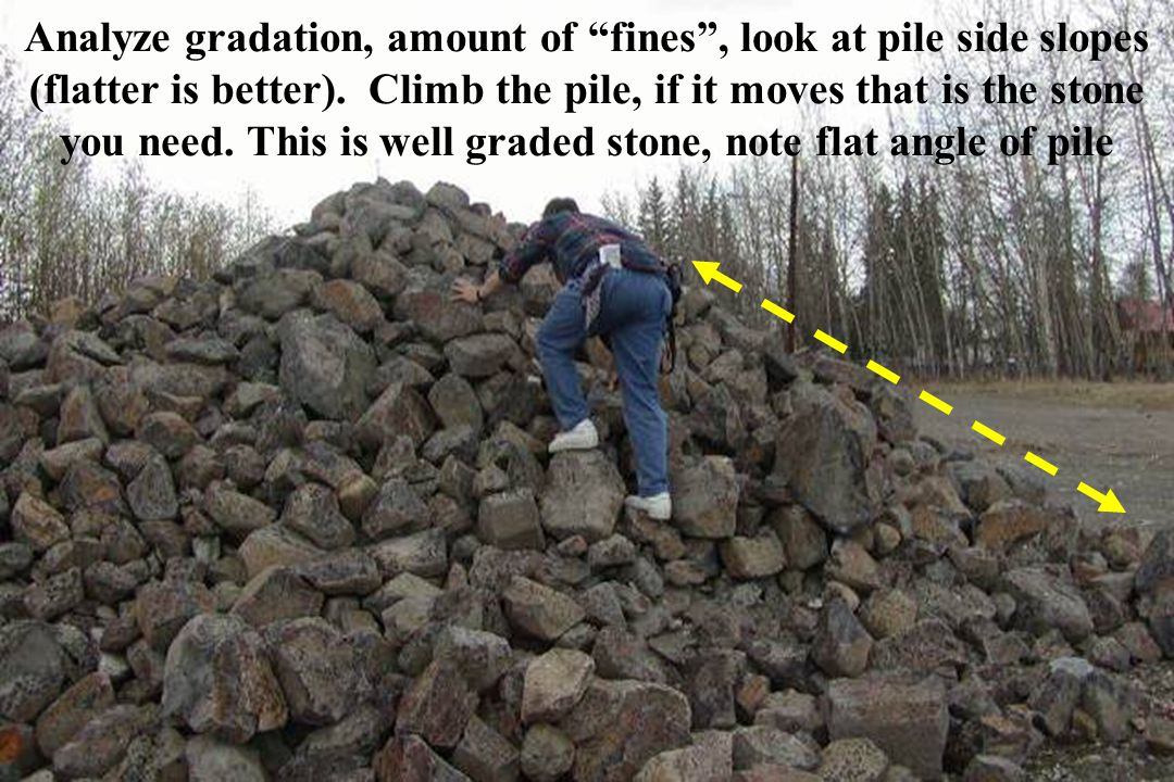 Analyze gradation, amount of fines , look at pile side slopes (flatter is better).