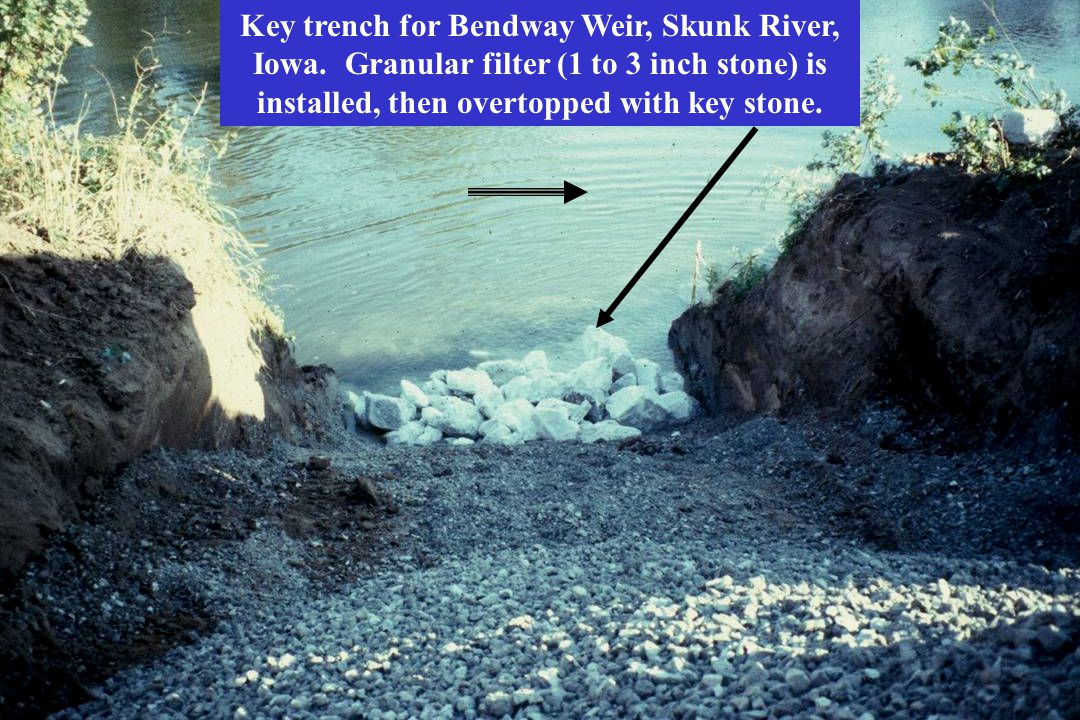 Key trench for Bendway Weir, Skunk River, Iowa.