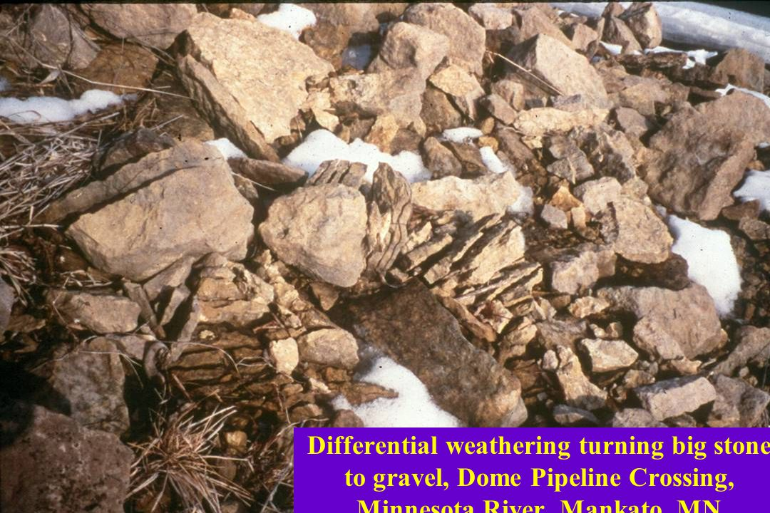 Differential weathering turning big stone to gravel, Dome Pipeline Crossing, Minnesota River, Mankato, MN