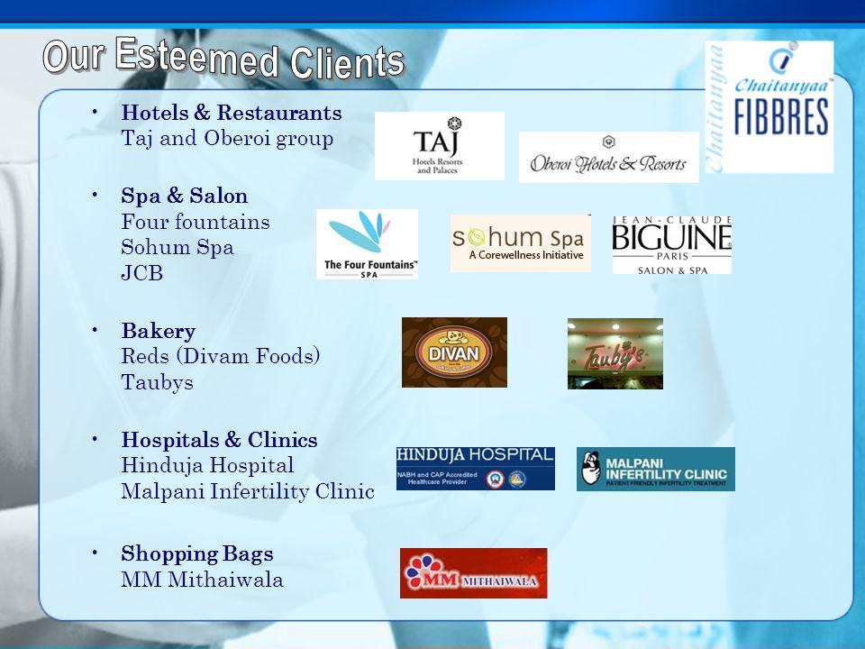 Hotels & Restaurants Taj and Oberoi group Spa & Salon Four fountains Sohum Spa JCB Bakery Reds (Divam Foods) Taubys Hospitals & Clinics Hinduja Hospit