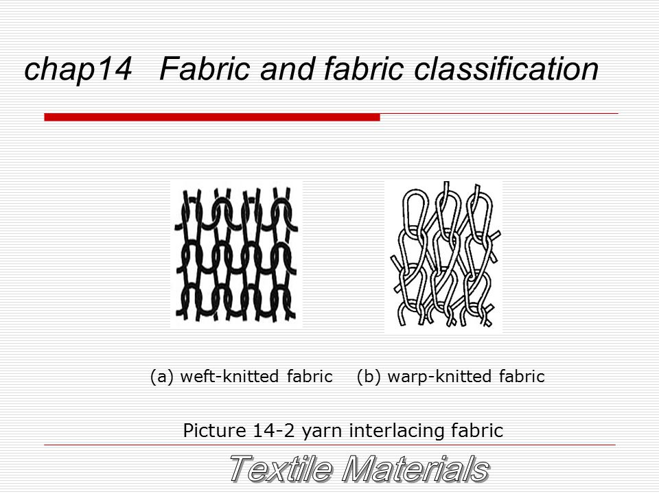 chap14 Fabric and fabric classification (a) weft-knitted fabric (b) warp-knitted fabric Picture 14-2 yarn interlacing fabric