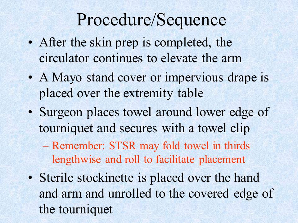 Procedure/Sequence After the skin prep is completed, the circulator continues to elevate the arm A Mayo stand cover or impervious drape is placed over