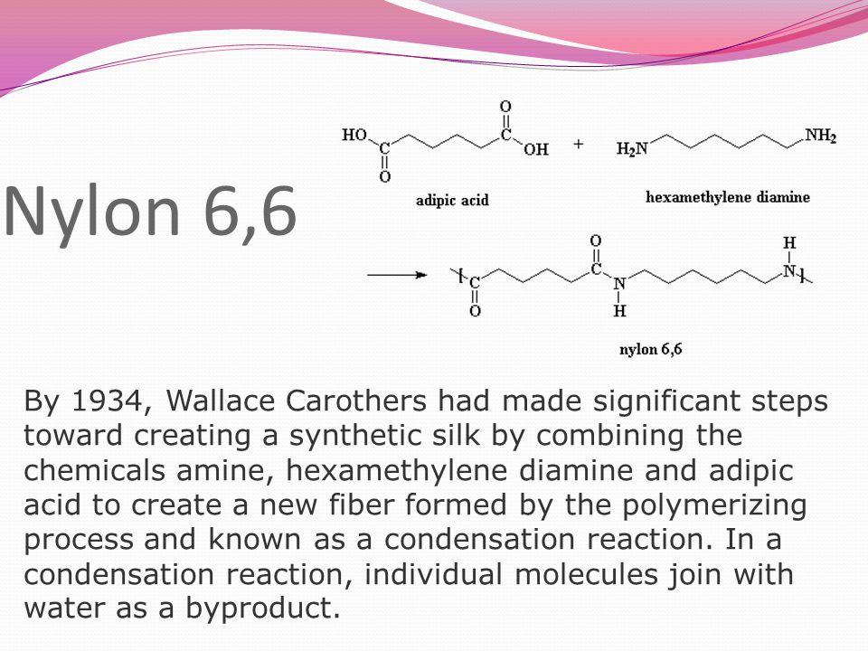 Nylon 6,6 By 1934, Wallace Carothers had made significant steps toward creating a synthetic silk by combining the chemicals amine, hexamethylene diamine and adipic acid to create a new fiber formed by the polymerizing process and known as a condensation reaction.
