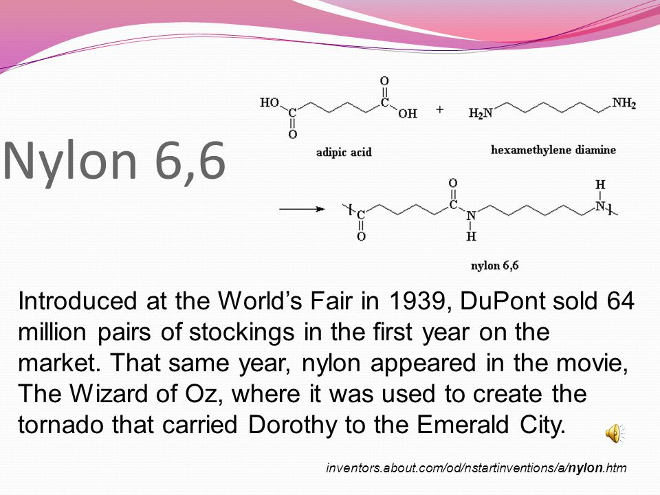 Nylon 6,6 Introduced at the World's Fair in 1939, DuPont sold 64 million pairs of stockings in the first year on the market.