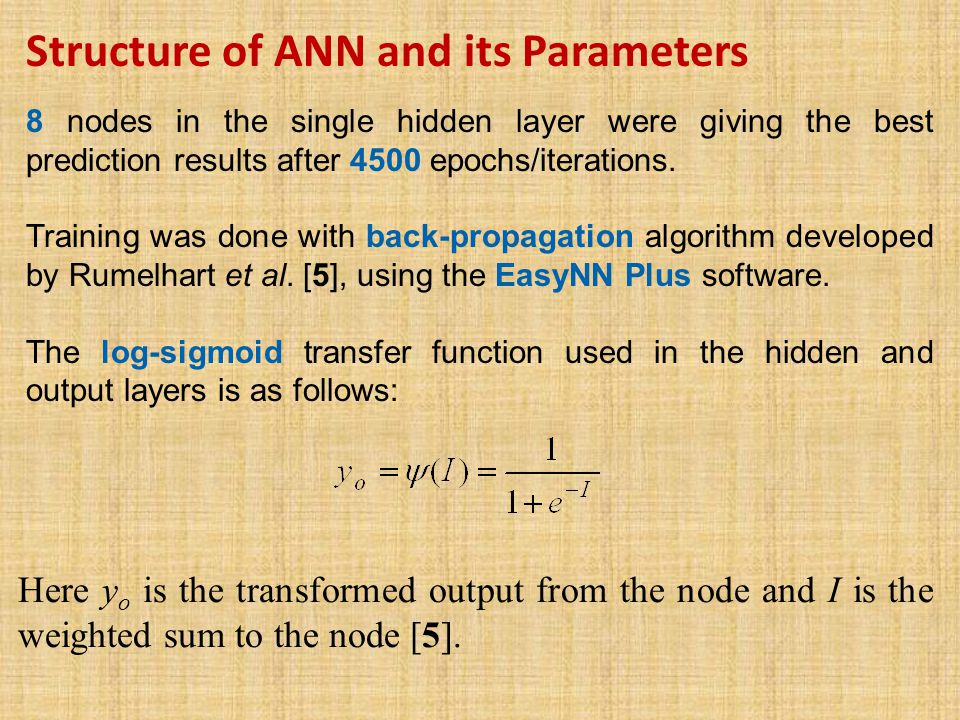 Structure of ANN and its Parameters 8 nodes in the single hidden layer were giving the best prediction results after 4500 epochs/iterations.