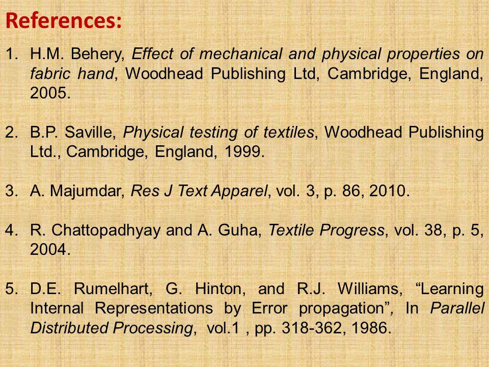 References: 1.H.M. Behery, Effect of mechanical and physical properties on fabric hand, Woodhead Publishing Ltd, Cambridge, England, 2005. 2.B.P. Savi