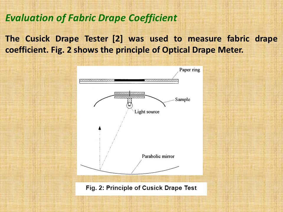 Evaluation of Fabric Drape Coefficient The Cusick Drape Tester [2] was used to measure fabric drape coefficient.