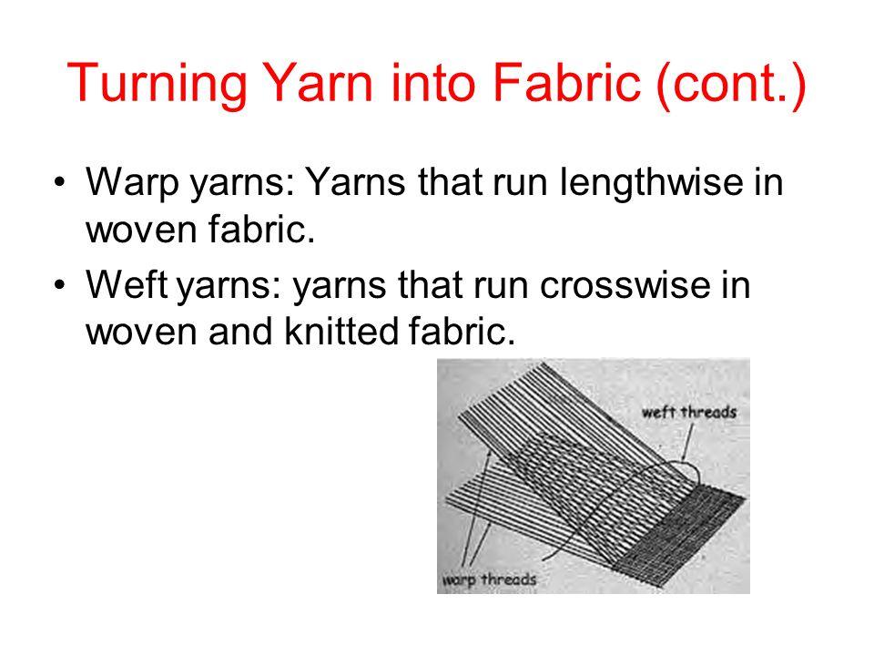 Turning Yarn into Fabric (cont.) Warp yarns: Yarns that run lengthwise in woven fabric. Weft yarns: yarns that run crosswise in woven and knitted fabr