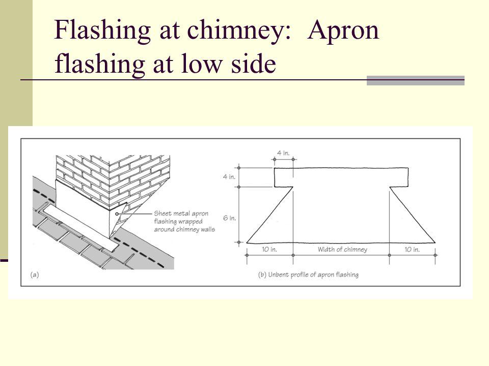 Flashing at chimney: Apron flashing at low side