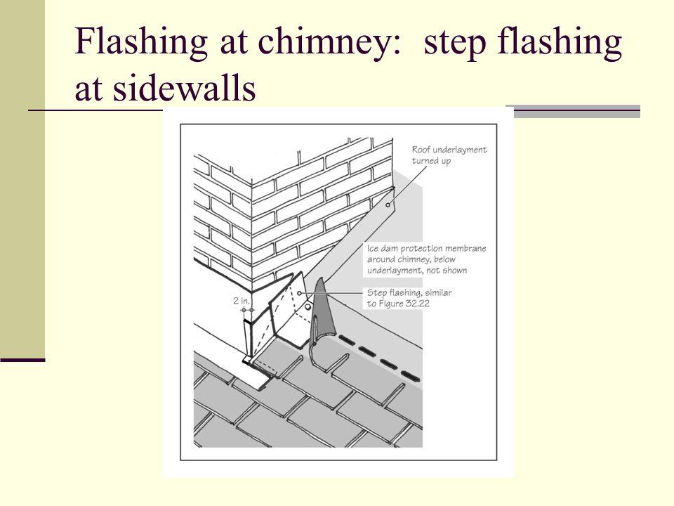 Flashing at chimney: step flashing at sidewalls