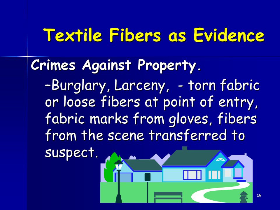 16 Textile Fibers as Evidence Crimes Against Property.