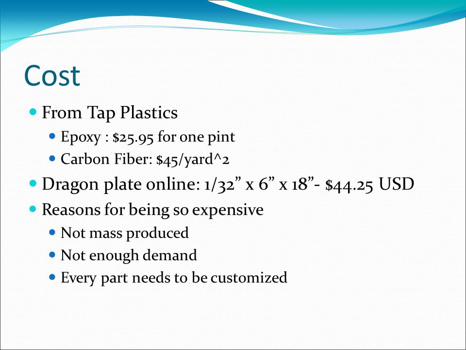 Cost From Tap Plastics Epoxy : $25.95 for one pint Carbon Fiber: $45/yard^2 Dragon plate online: 1/32 x 6 x 18 - $44.25 USD Reasons for being so expensive Not mass produced Not enough demand Every part needs to be customized