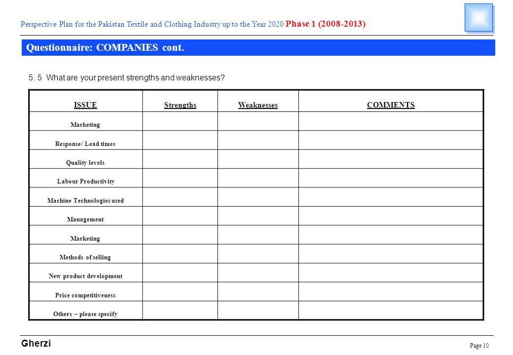 Page 10 Gherzi Questionnaire: COMPANIES cont.