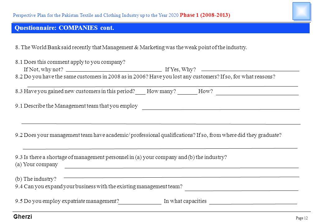 Page 12 Gherzi Questionnaire: COMPANIES cont.