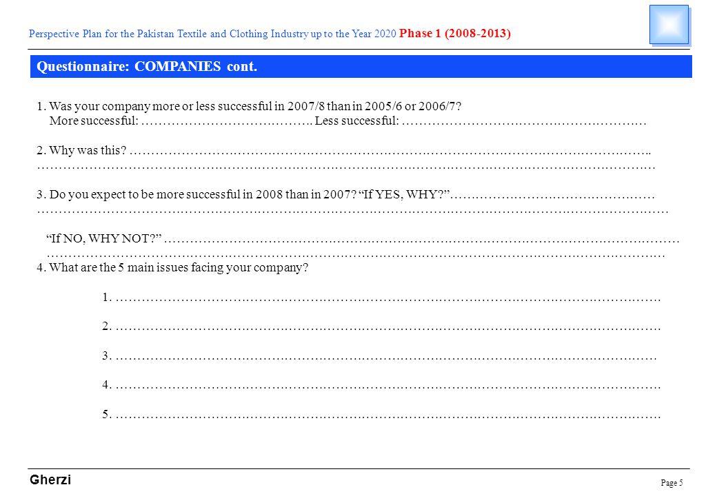 Page 5 Gherzi Questionnaire: COMPANIES cont.