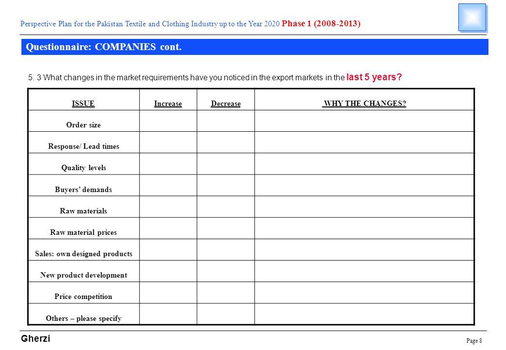 Page 8 Gherzi Questionnaire: COMPANIES cont.