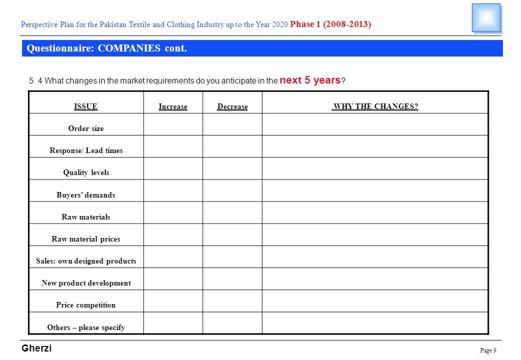 Page 9 Gherzi Questionnaire: COMPANIES cont.