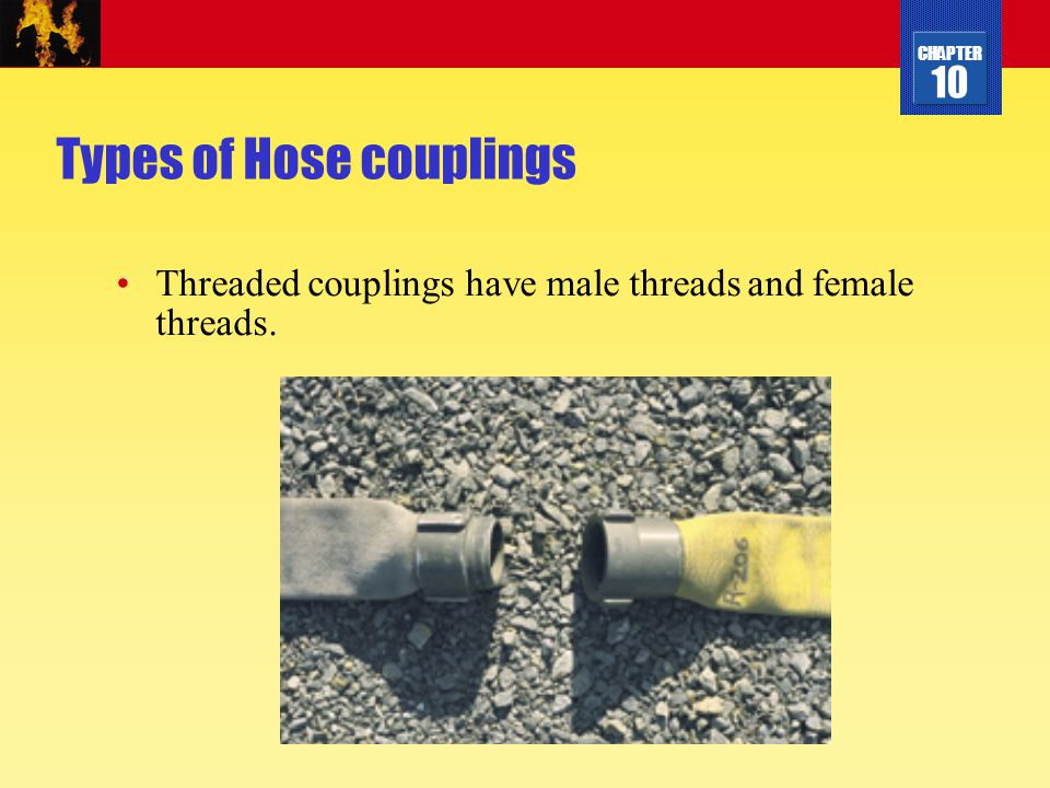 CHAPTER 10 Types of Hose couplings Threaded couplings have male threads and female threads.
