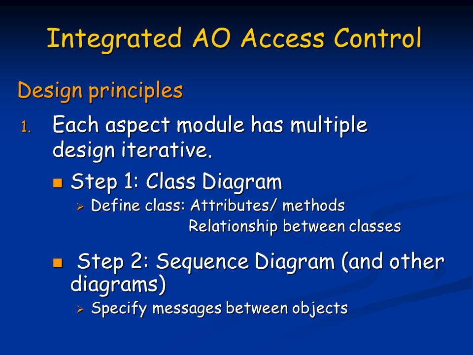Integrated AO Access Control Design principles 1. Each aspect module has multiple design iterative.