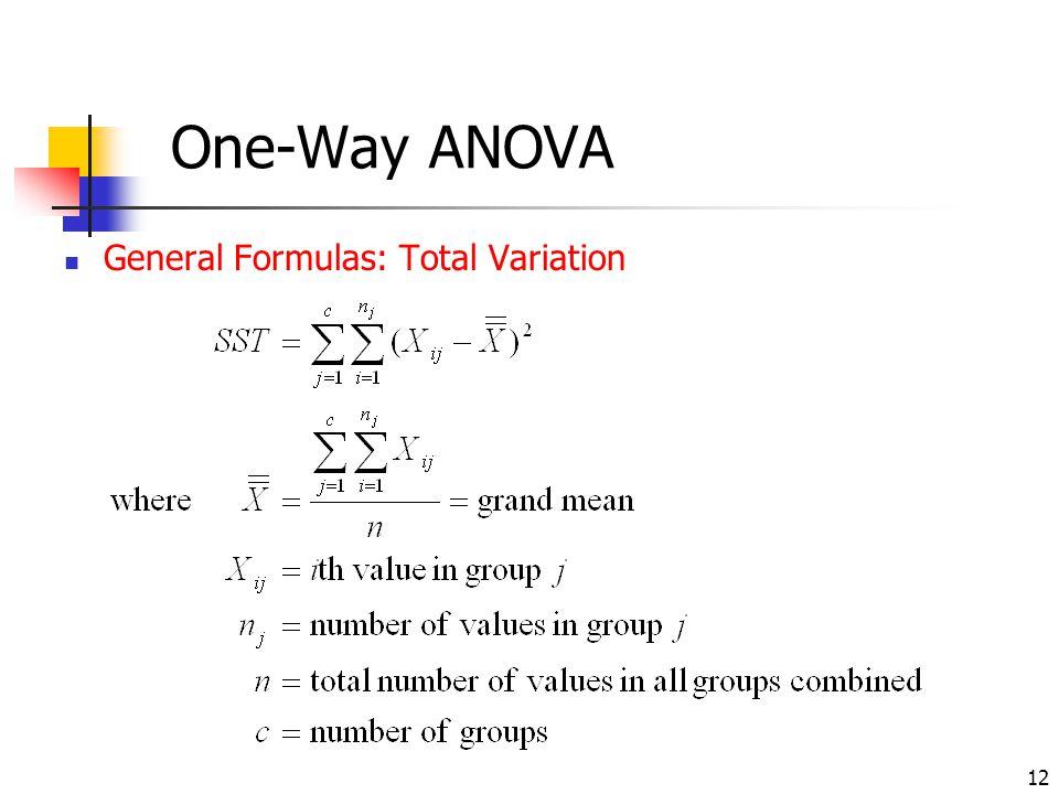 12 One-Way ANOVA General Formulas: Total Variation