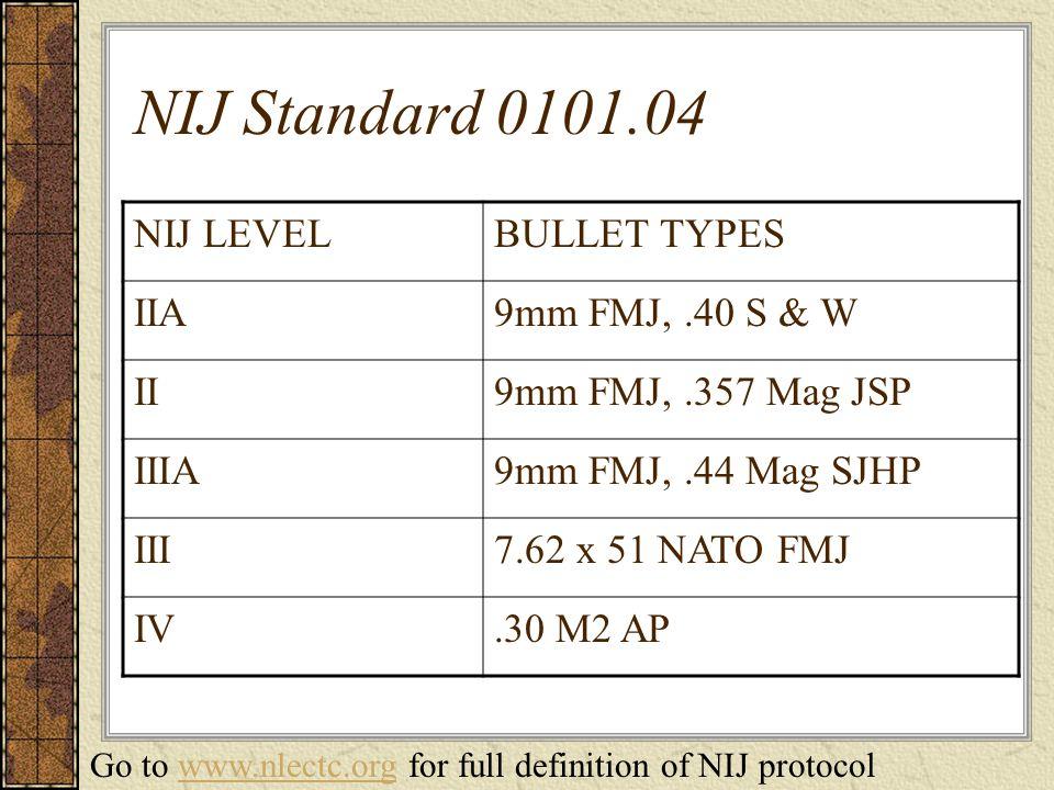 NIJ Standard 0101.04 NIJ LEVELBULLET TYPES IIA9mm FMJ,.40 S & W II9mm FMJ,.357 Mag JSP IIIA9mm FMJ,.44 Mag SJHP III7.62 x 51 NATO FMJ IV.30 M2 AP Go to www.nlectc.org for full definition of NIJ protocolwww.nlectc.org