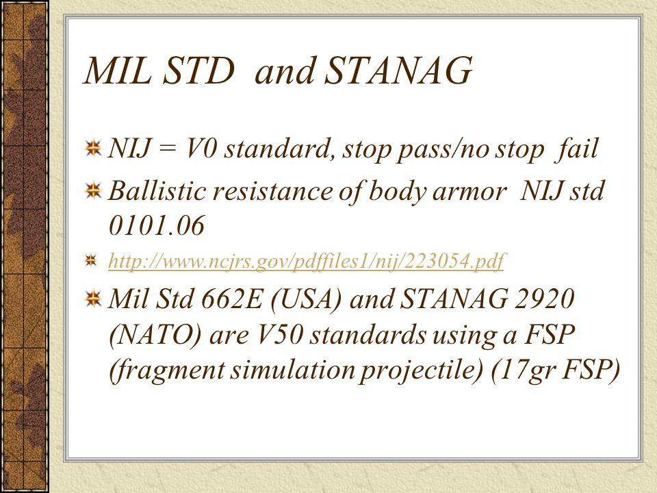 MIL STD and STANAG NIJ = V0 standard, stop pass/no stop fail Ballistic resistance of body armor NIJ std 0101.06 http://www.ncjrs.gov/pdffiles1/nij/223054.pdf Mil Std 662E (USA) and STANAG 2920 (NATO) are V50 standards using a FSP (fragment simulation projectile) (17gr FSP)