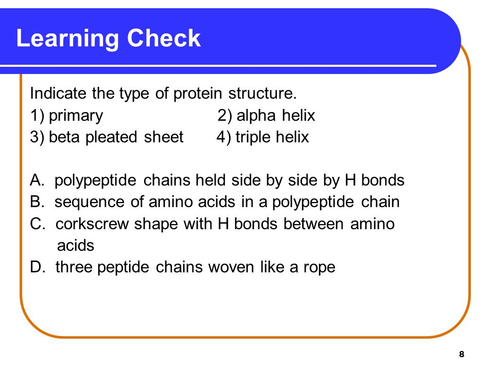 8 Indicate the type of protein structure. 1) primary 2) alpha helix 3) beta pleated sheet 4) triple helix A. polypeptide chains held side by side by H