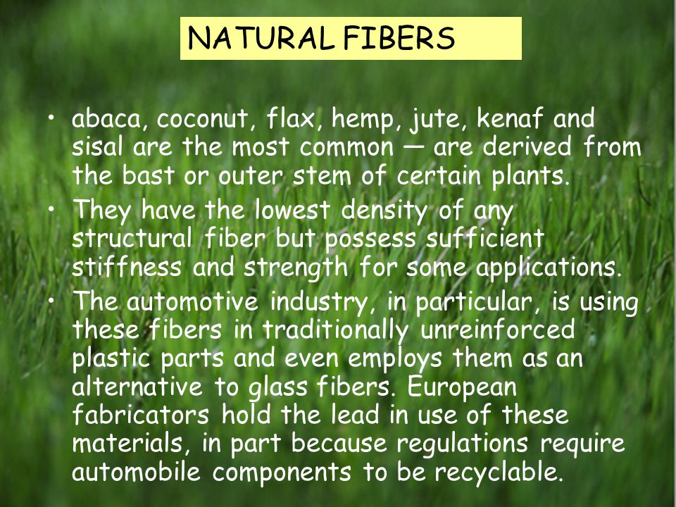 Natural fibers abaca, coconut, flax, hemp, jute, kenaf and sisal are the most common — are derived from the bast or outer stem of certain plants.
