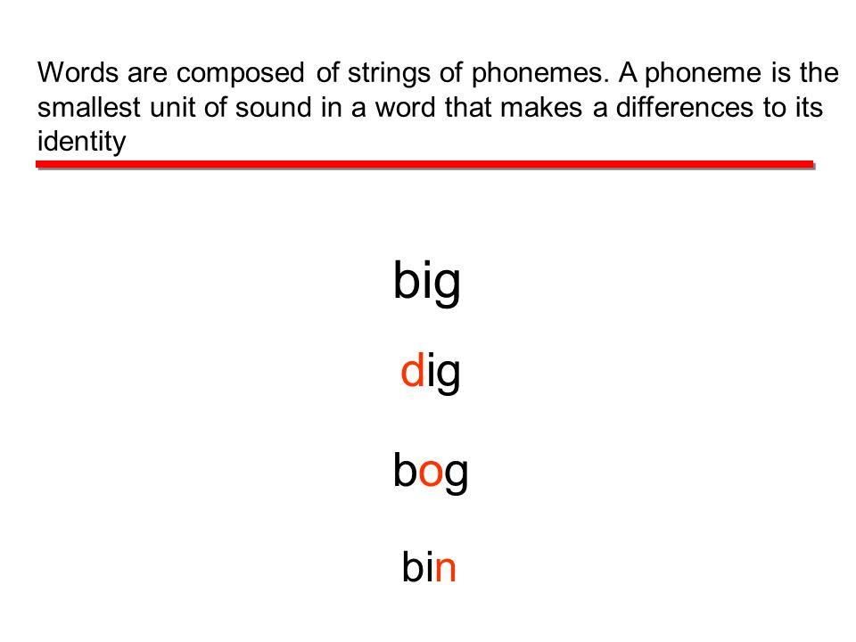 big dig bogbog bin Words are composed of strings of phonemes.