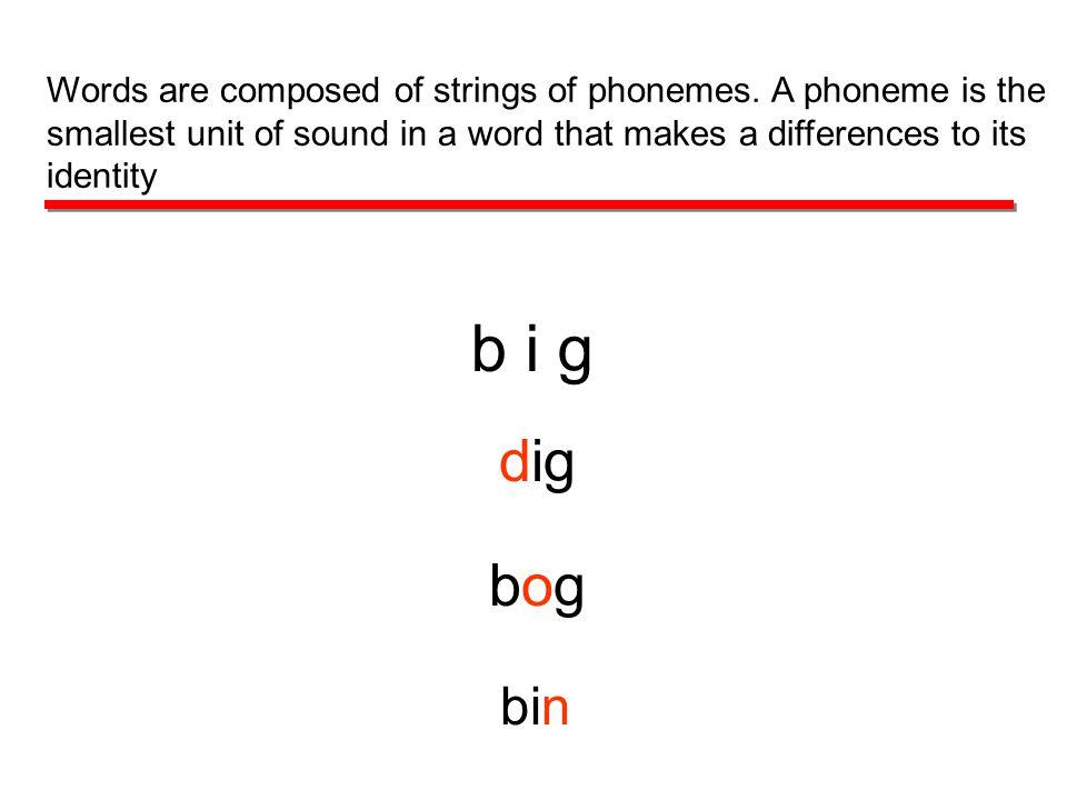 b i g dig bogbog bin Words are composed of strings of phonemes.