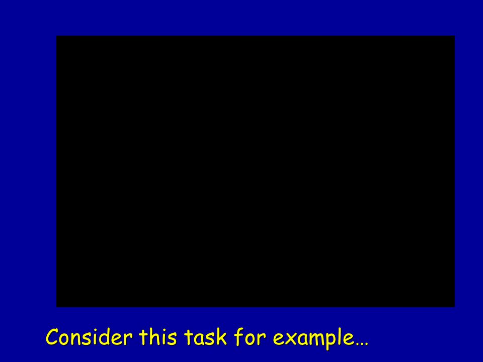 Consider this task for example…