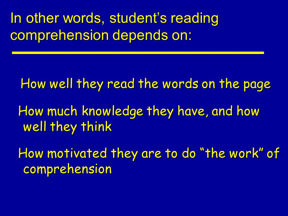 In other words, student's reading comprehension depends on: How well they read the words on the page How well they read the words on the page How much knowledge they have, and how well they think How much knowledge they have, and how well they think How motivated they are to do the work of comprehension How motivated they are to do the work of comprehension