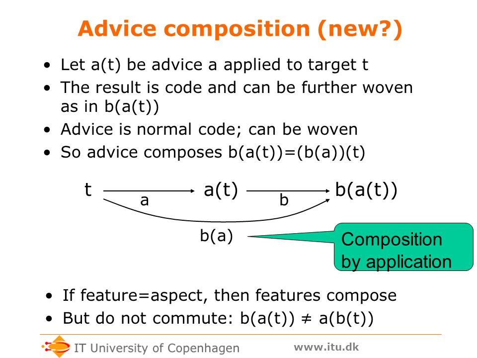 www.itu.dk Advice composition (new?) Let a(t) be advice a applied to target t The result is code and can be further woven as in b(a(t)) Advice is normal code; can be woven So advice composes b(a(t))=(b(a))(t) ab If feature=aspect, then features compose But do not commute: b(a(t)) ≠ a(b(t)) ta(t)b(a(t)) b(a) Composition by application