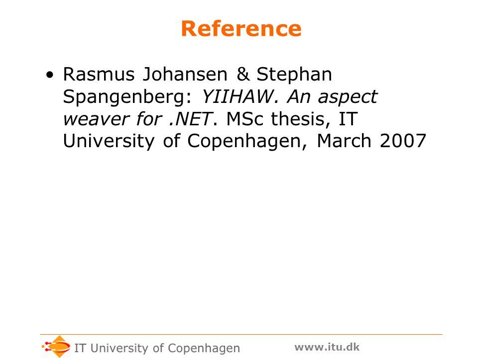 www.itu.dk Reference Rasmus Johansen & Stephan Spangenberg: YIIHAW.