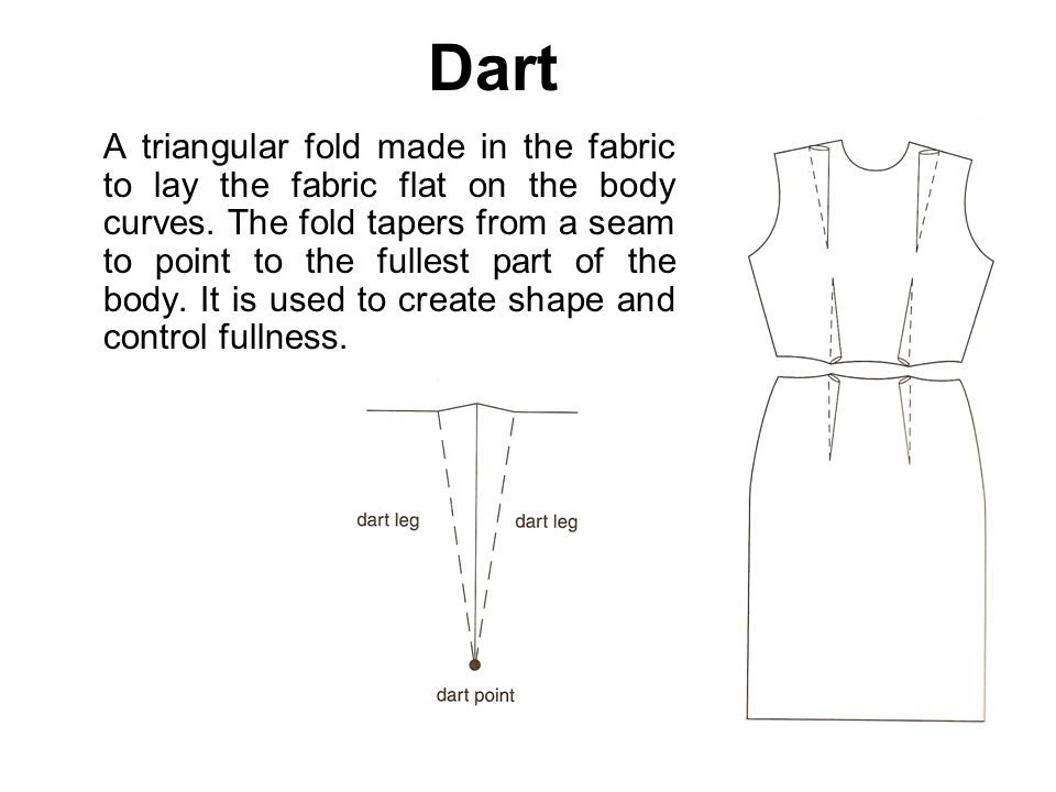 Dart A triangular fold made in the fabric to lay the fabric flat on the body curves. The fold tapers from a seam to point to the fullest part of the b