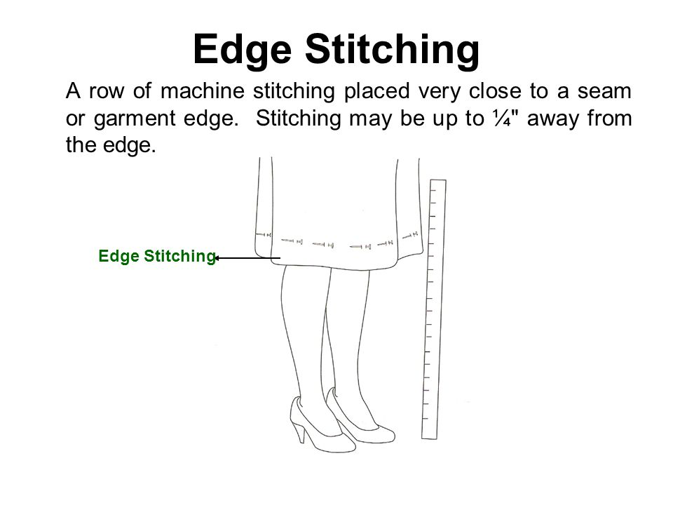Edge Stitching A row of machine stitching placed very close to a seam or garment edge. Stitching may be up to ¼