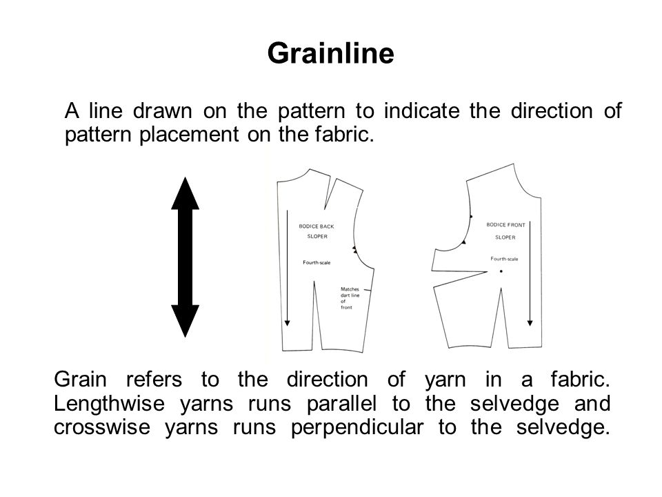 Grainline A line drawn on the pattern to indicate the direction of pattern placement on the fabric. Grain refers to the direction of yarn in a fabric.