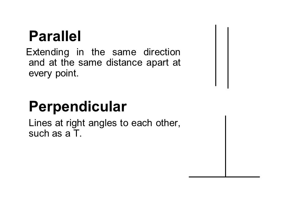 Parallel Extending in the same direction and at the same distance apart at every point. Perpendicular Lines at right angles to each other, such as a T