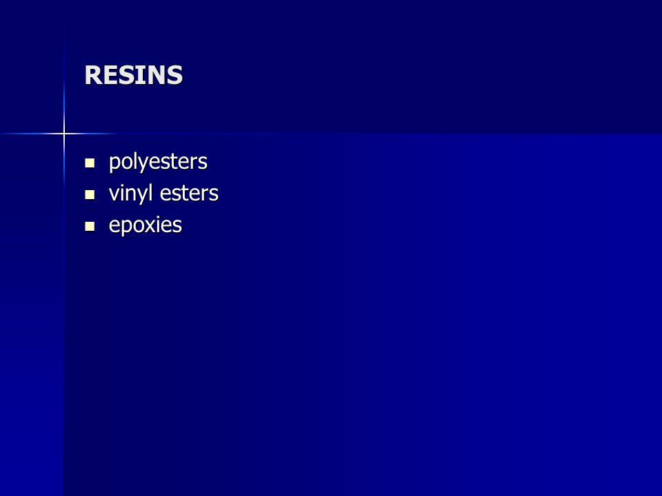 RESINS polyesters polyesters vinyl esters vinyl esters epoxies epoxies
