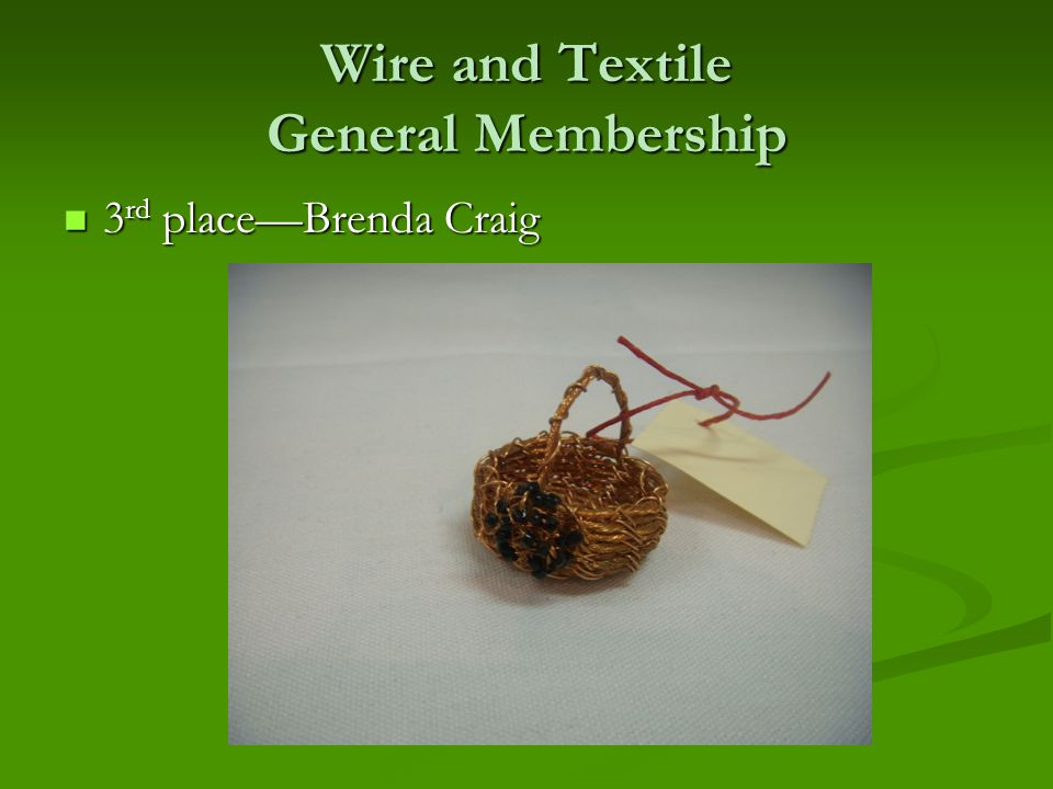Wire and Textile General Membership 3 rd place—Brenda Craig 3 rd place—Brenda Craig