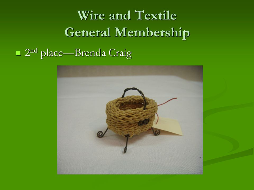 Wire and Textile General Membership 2 nd place—Brenda Craig 2 nd place—Brenda Craig