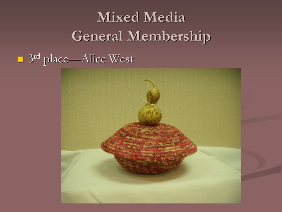 Mixed Media General Membership 3 rd place—Alice West 3 rd place—Alice West
