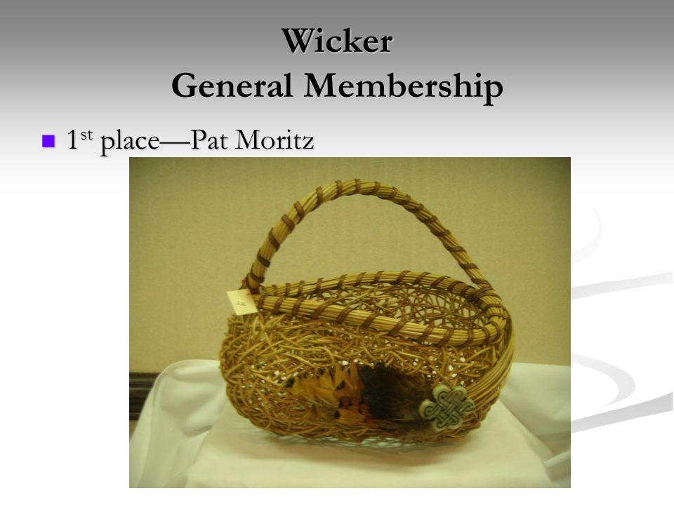 Wicker General Membership 1 st place—Pat Moritz 1 st place—Pat Moritz