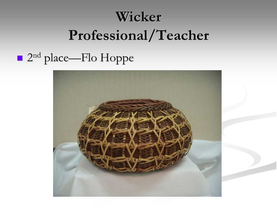 Wicker Professional/Teacher 2 nd place—Flo Hoppe 2 nd place—Flo Hoppe