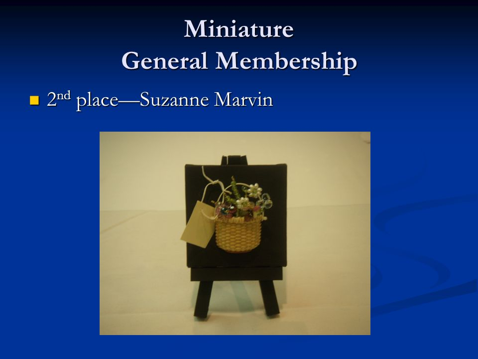 Miniature General Membership 2 nd place—Suzanne Marvin 2 nd place—Suzanne Marvin